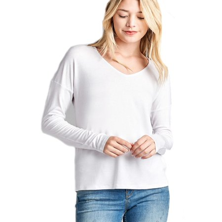 Made by Olivia Women's Long Dolman Sleeve V-Neck Rayon Spandex Knit Top Off-White M (Long Spandex)