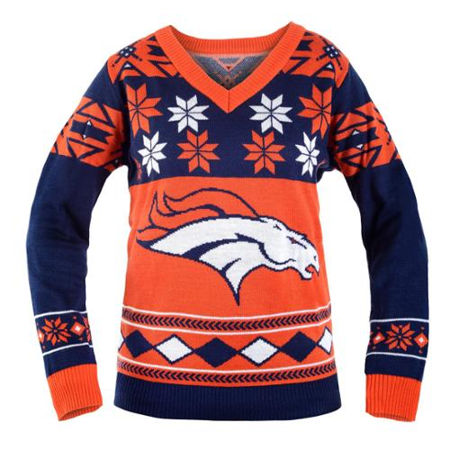 Denver Broncos NFL Women's Big Logo V-Neck Ugly Christmas Sweater Medium