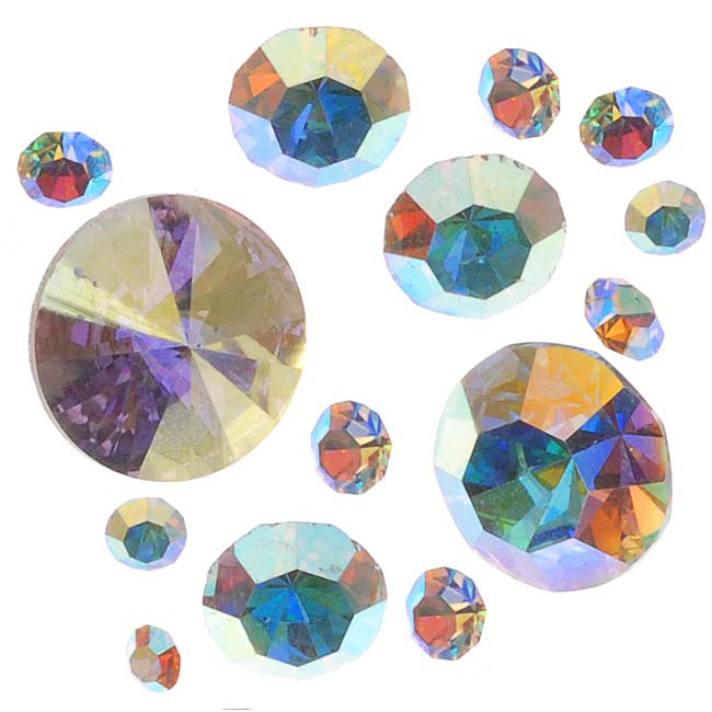"""Preciosa Czech Crystal Chaton Mix - Assorted Shapes And Sizes - """"Crystal AB"""" /5g"""