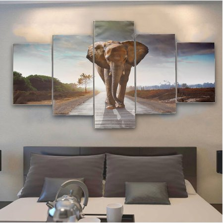 Meigar 5 Panels Large Abstract Elephant Canvas Print Pictures Wall Art Home Decor ()