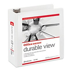 """Office Depot® Brand Durable View D-Ring Binder, 4"""" Rings, 59% Recycled, White"""