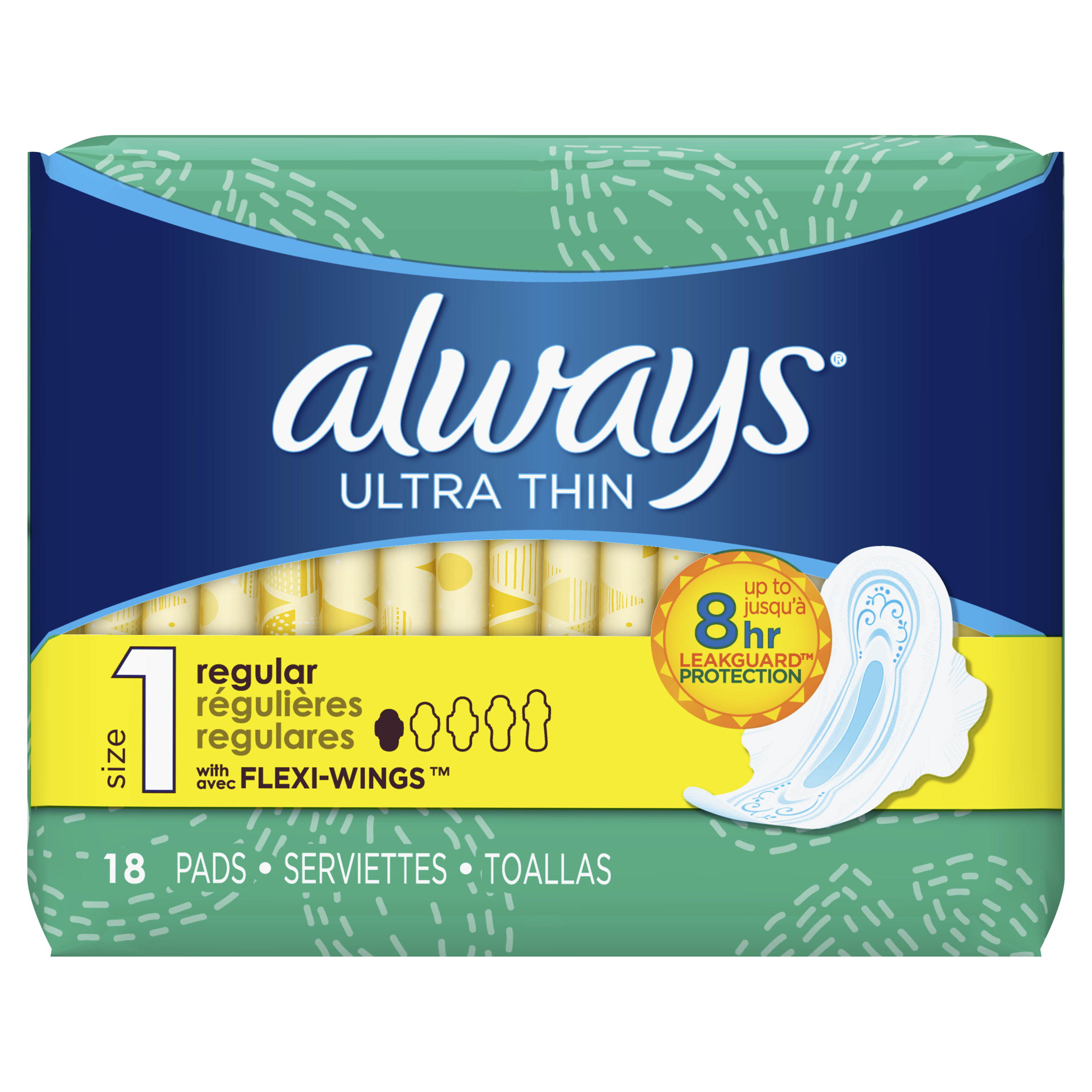 Always Ultra Thin, Size 1, Regular Pads With Wings, Unscented 18 Count