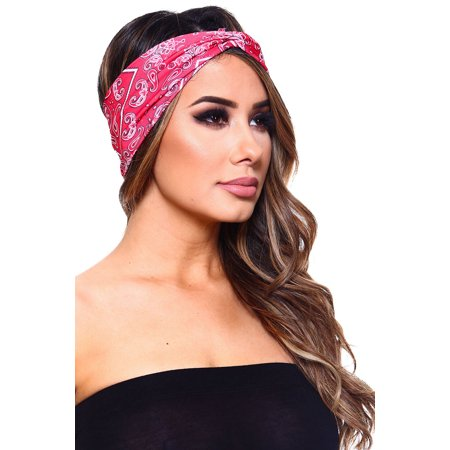Womens Fashion Soft Stretch Wrap Bandana Headband Hair Band HB-551-Red -  Walmart.com cf387acf42f