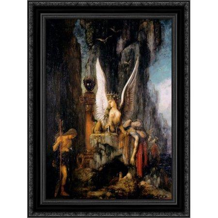 Oedipus the Wayfarer 20x24 Black Ornate Wood Framed Canvas Art by Moreau, (Wood Wayfarer)