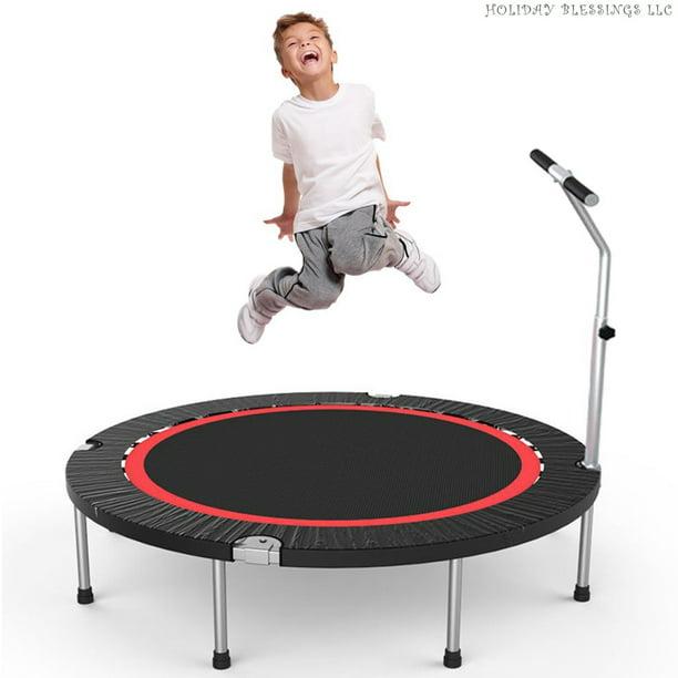 40In Kids Mini Trampoline Children w//Handles Safe Indoor Outdoor Play Exercise S