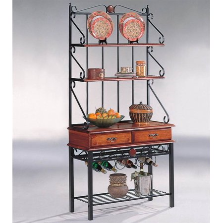 coaster dirty oak bakers rack with 2 drawers. Black Bedroom Furniture Sets. Home Design Ideas