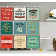 Quotes Decor Shower Curtain Set, Collection Of Uplifting Messages Quotes Life Wisdom Art Success Themed Artwork, Bathroom Accessories, 69W X 70L Inches, By Ambesonne