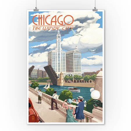 Chicago Outdoor Wall - Chicago, Illinois - River View - Lantern Press Artwork (9x12 Art Print, Wall Decor Travel Poster)
