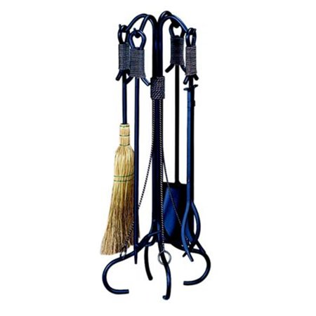 5 PC BLACK WROUGHT IRON FIRESET WITH COPPER ROPE ()