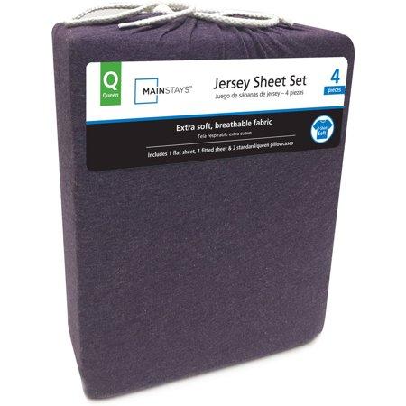 Mainstays Knit Jersey Sheet Set, Purple, Queen, Cotton Blend