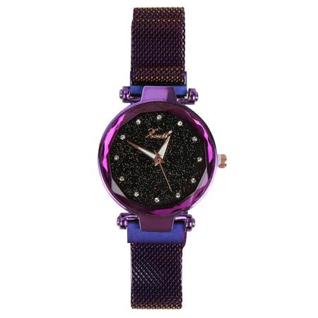 Luxury Women's Starry Sky Watch Magnet Strap Buckle Fashion Star Watch Women Mother Lover Gifts Buckle Bracelet Link Watch