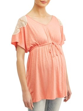 87ea80ec Product Image Maternity V Neck Babydoll Top with Crochet Detail