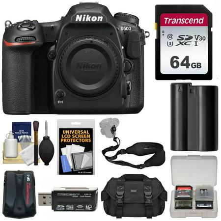 Nikon D500 Wi-Fi 4K Digital SLR Camera Body with 64GB Card + Case + Battery + Strap + GPS Adapter +