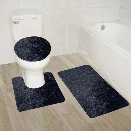 #9  Black 3-Piece Solid Plain Shaggy Bathroom Rug Set, Large Bath Mat 20