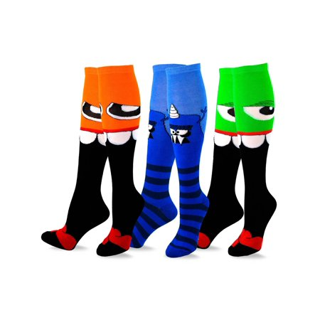 TeeHee Novelty Cotton Knee High Fun Socks 3-Pack for Junior and Women