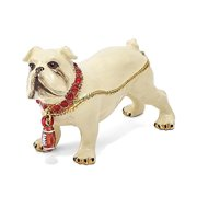 Mia Diamonds Bejeweled Butch Bulldog With Football Trinket Decorative Jewelery Box - (L: 3.5in x W: 1.25in)