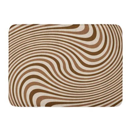 Dot Swirl Bath Rug - LADDKE Brown Cream Swirling Stripes for Swirl Abstract Beam Circular Converge Doormat Floor Rug Bath Mat 23.6x15.7 inch