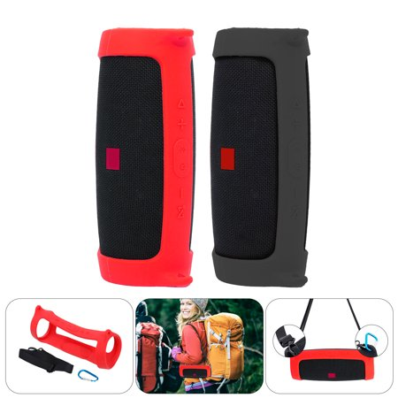 TSV Silicone Case for JBL Charge 4 Bluetooth Speaker with Shoulder Strap and Carabiner, Soft Durable Protective Silicone Travel Case Portable for Climbing Camping Traveling