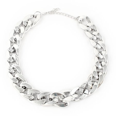 Lady Metal Cuban Curb Style Lobster Clasp Design Link Chain Necklace Silver Tone Silver Tone Bail Clasp