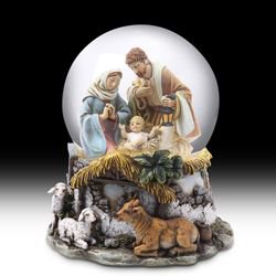 Holy Family Religious Nativity Musical Christmas Water Globe 4