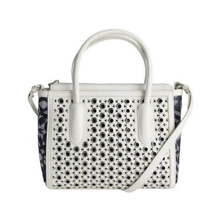 Sam Edelman Womens Ashton Faux Leather Grommet Satchel Handbag