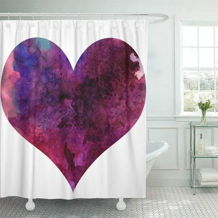 YUSDECOR Heartpillow Watercolor Heart Bathroom Decor Bath Shower Curtain 66x72 inch - image 1 of 1