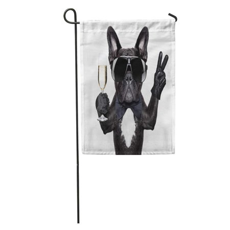 POGLIP Birthday French Bulldog Champagne Glass and Victory Peace Fingers Happy Funny Garden Flag Decorative Flag House Banner 12x18 inch - image 1 de 2