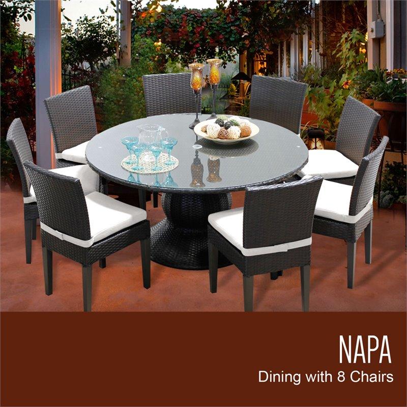 "60 Round Glass Dining Set: TKC Napa 9 Piece 60"" Round Glass Top Patio Dining Set In"