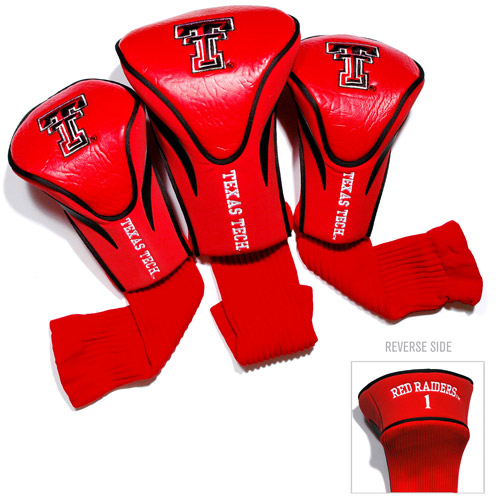 Team Golf NCAA Texas Tech 3 Pack Contour Head Covers
