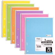 Mead Spiral Notebook, 6 Pack of 1-Subject College Ruled, Pastel Color