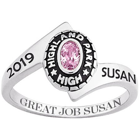 Personalized Girls 10kt White Gold Traditional Oval Wrap