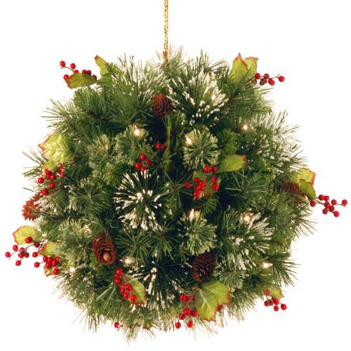 National Tree WP1-361-16 16 inch Wintry Pine Kissing Ball
