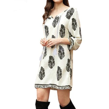 Womens 3/4 Sleeve Floral Print Lace Up Tassel Loose Mini Dresses (Around The World Dress Up)