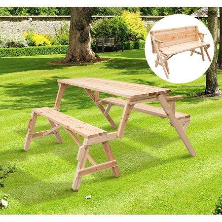 2 in 1 Convertible Picnic Table & Garden Bench