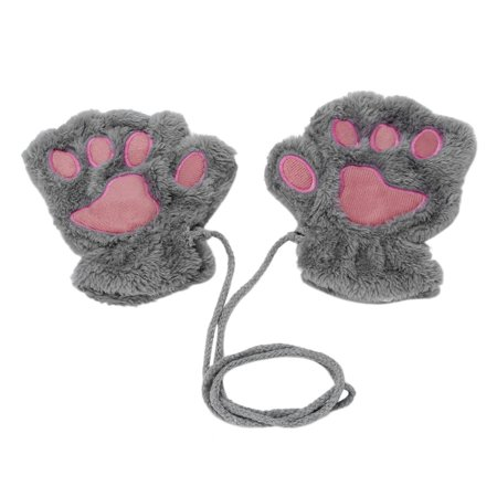 Sofe Women Winter Claw Gloves Fluffy Bear Paw Mittens Lady Half Finger Gloves - image 12 of 16