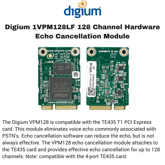Digium 1VPM128LF 128 Channel Hardware Echo Cancellation Module