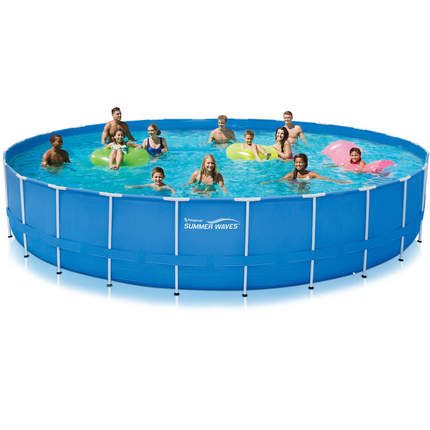 Summer Waves 24 X 52 Round Metal Frame Above Ground Swimming Pool With Deluxe Accessory Set