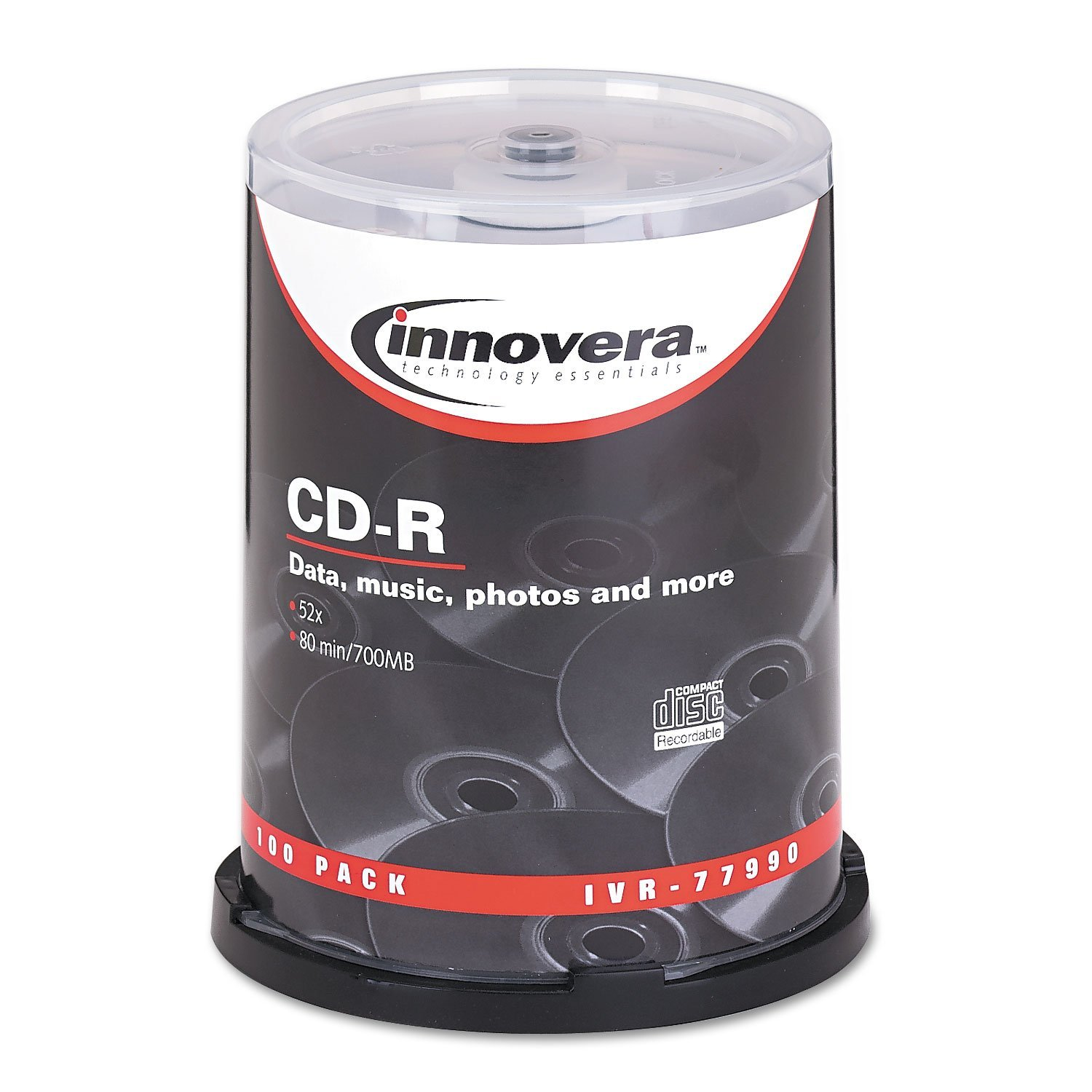 IVR77990 - CD-R Discs, Speed Spindle 700MB80min 100Pack Recordable 700MB80MIN Innovera CDR Discs Silver Maximum IVR77990 by 52x Recording By Innovera