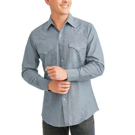 Ely Cattleman Mens Long Sleeve Chambray Western - Ely Cattleman Mens Western Shirt