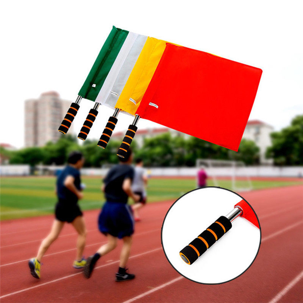 Girl12Queen Sports Match Soccer Referee Football Linesman Training Stainless Steel Flag
