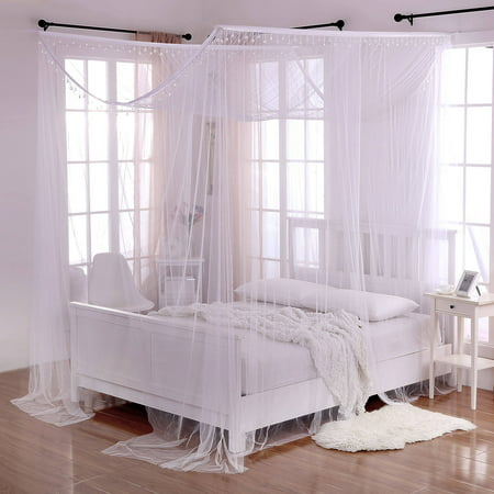 Palace Crystal 4 Post Bed Sheer Mosquito Net Panel Canopy