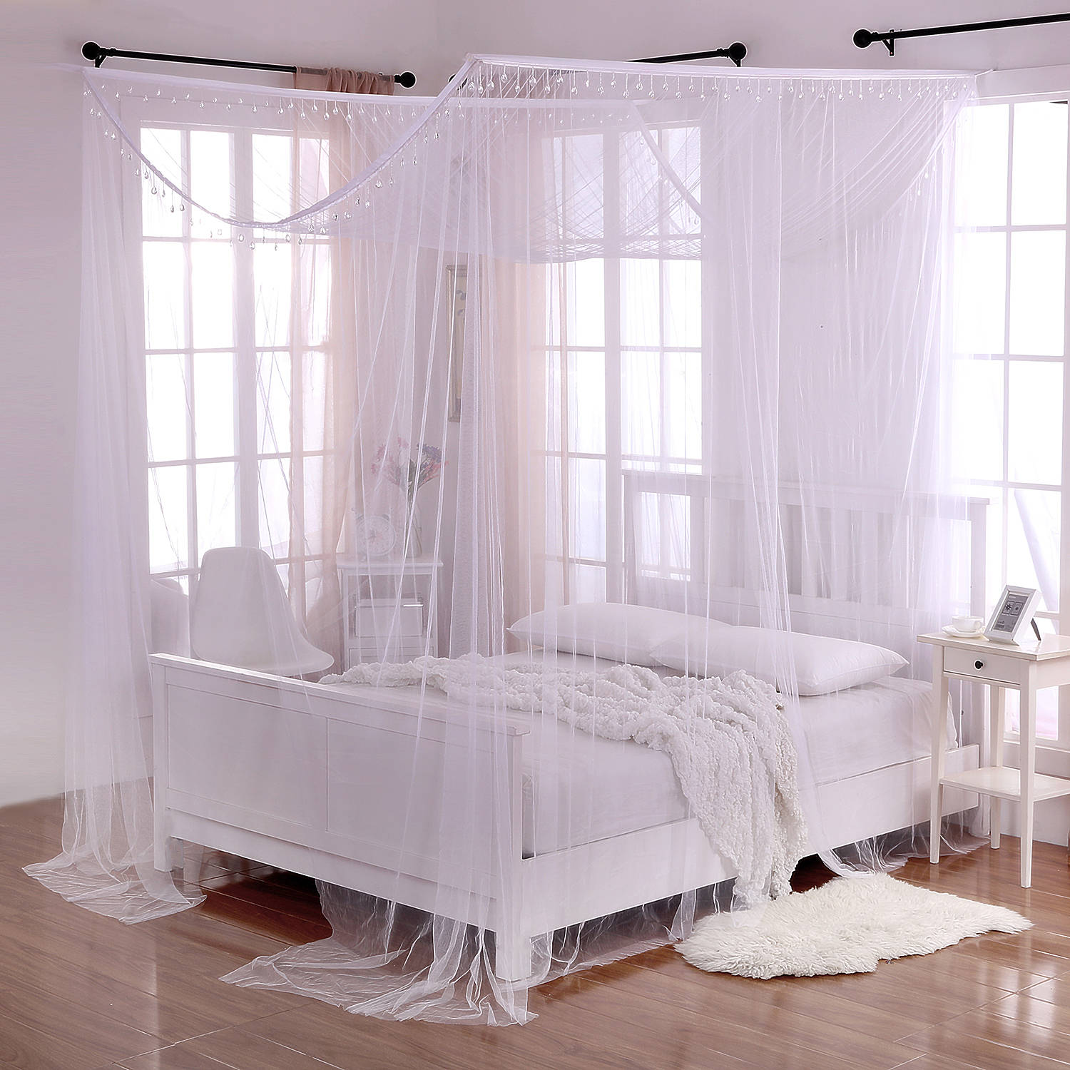 Palace Crystal 4-Post Bed Sheer Mosquito Net Panel Canopy