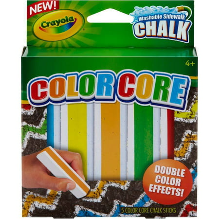 Crayola Color Core Washable Sidewalk Chalk  Assorted Colors  5Pk