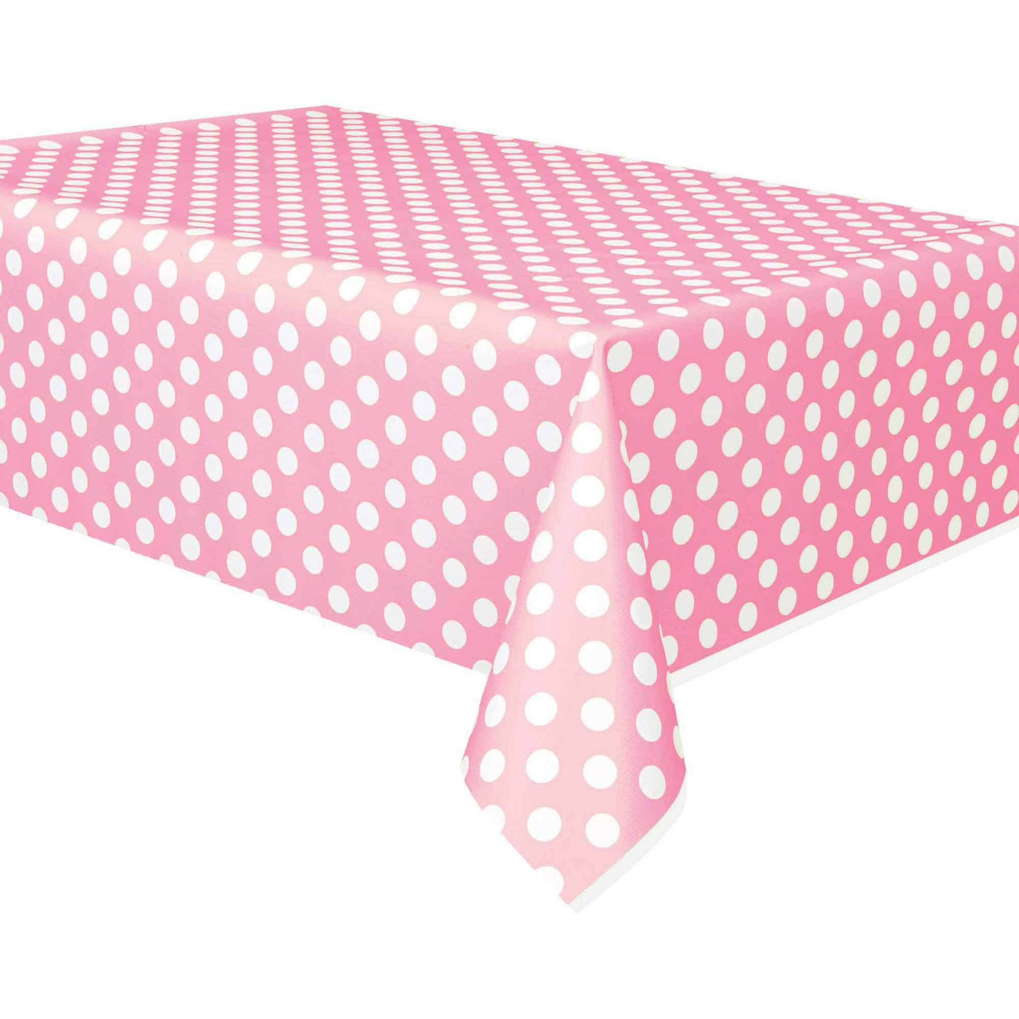 "Light Pink Polka Dots Table Cover, 108"" x 54"""