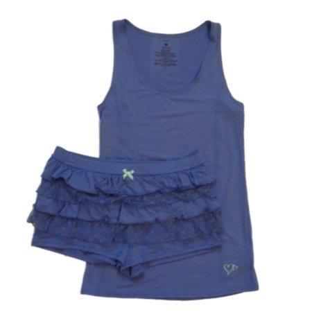 Valentines  Womens Purple Rhumba Shorts & Tank Pajama Set Ruffle Pajamas - Valentines Pajamas