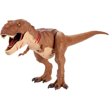Jurassic World Battle Damage Roarin' Super Colossal Tyrannosaurus Rex Figure - T Rex Model