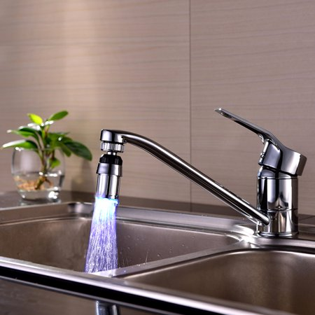 Kitchen Sink 7Color Change Water Glow Water Stream Shower LED Faucet Taps (Best Kitchen Sink Taps)
