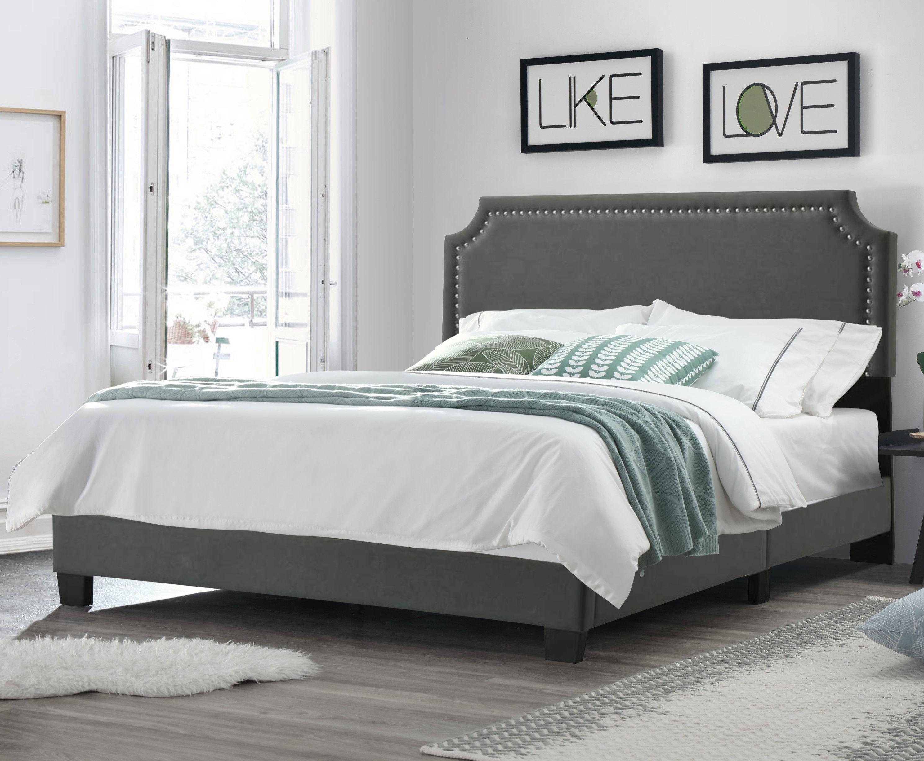 Regal Upholstered Bed With Nail Trim Headboard King Walmart Com Walmart Com