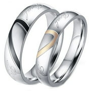 His and Her Real Love Promise Ring, Couple's Matching Heart Wedding Band in Stainless Steel, for Men and Women, Comfort Fit