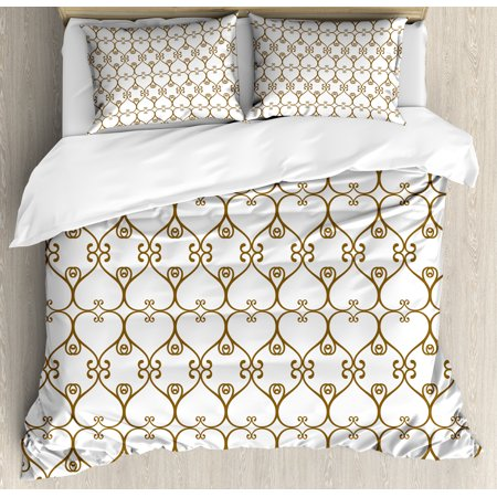 Abstract Duvet Cover Set, Traditional Swirled Damask Victorian Influences with Modern Oriental Details, Decorative Bedding Set with Pillow Shams, Chocolate White, by - Oriental Bedding
